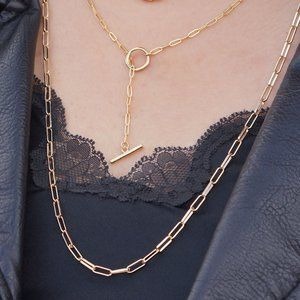 Jewelry - Dainty Lariat Paper Clip Toggle Chain